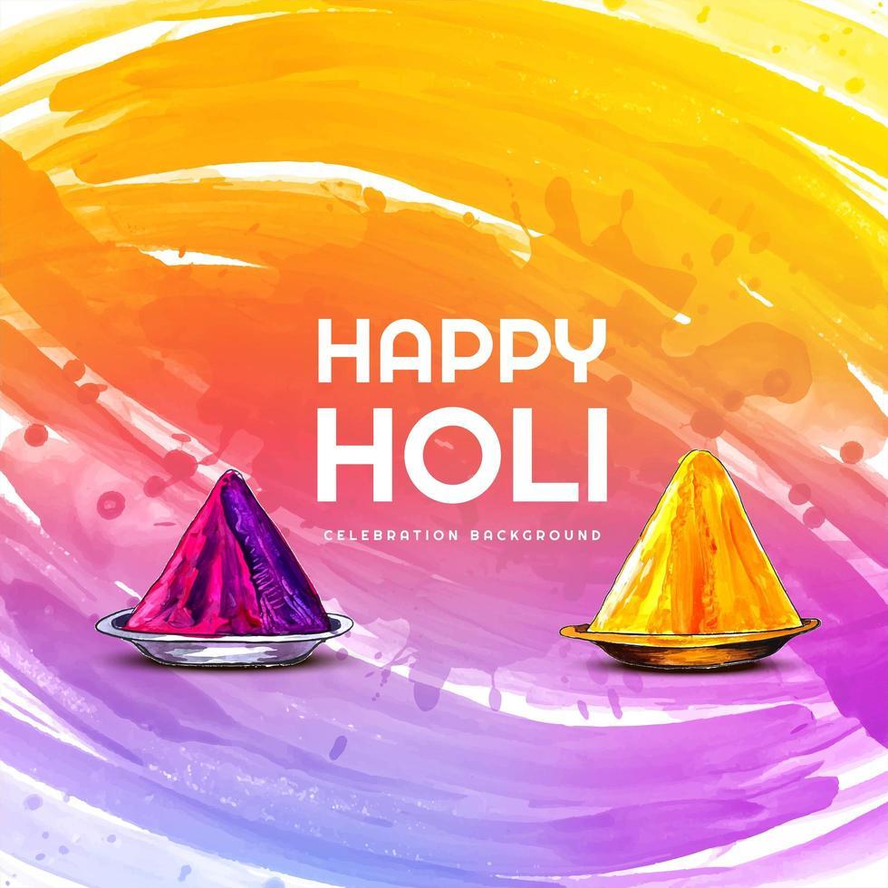 Holi celebration wishing card with gulal vector