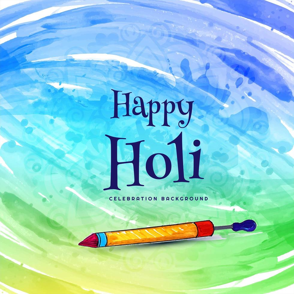 Holi celebration wishing card with pichkari vector