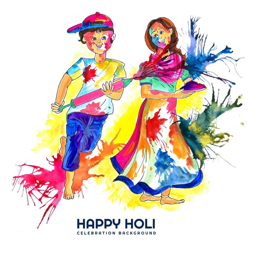 People Celebrating Holi with Paint Splashesh vector