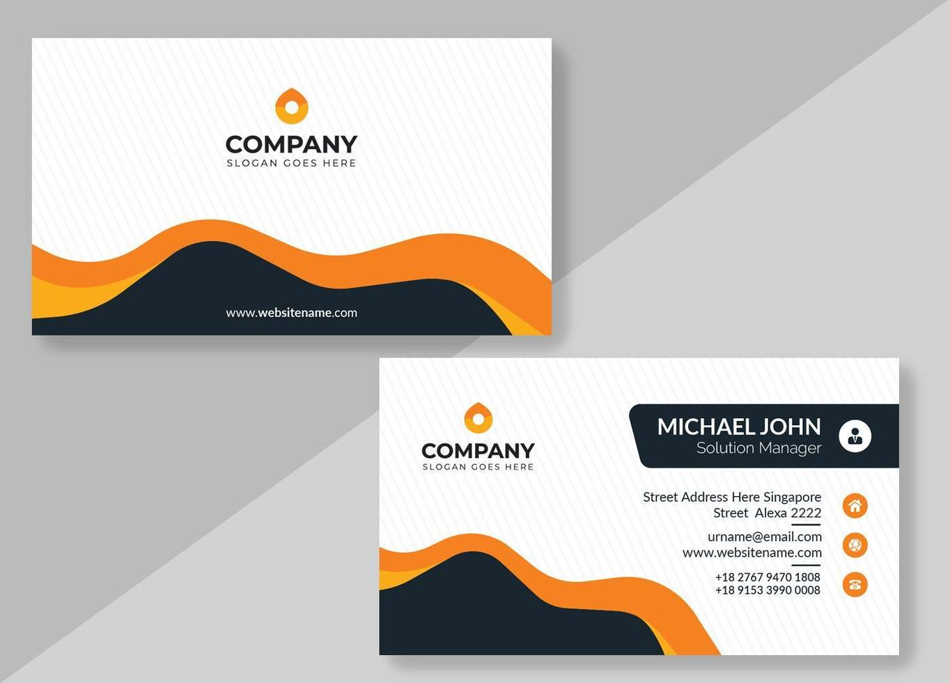 Striped Business Card with Orange and Black Shapes vector
