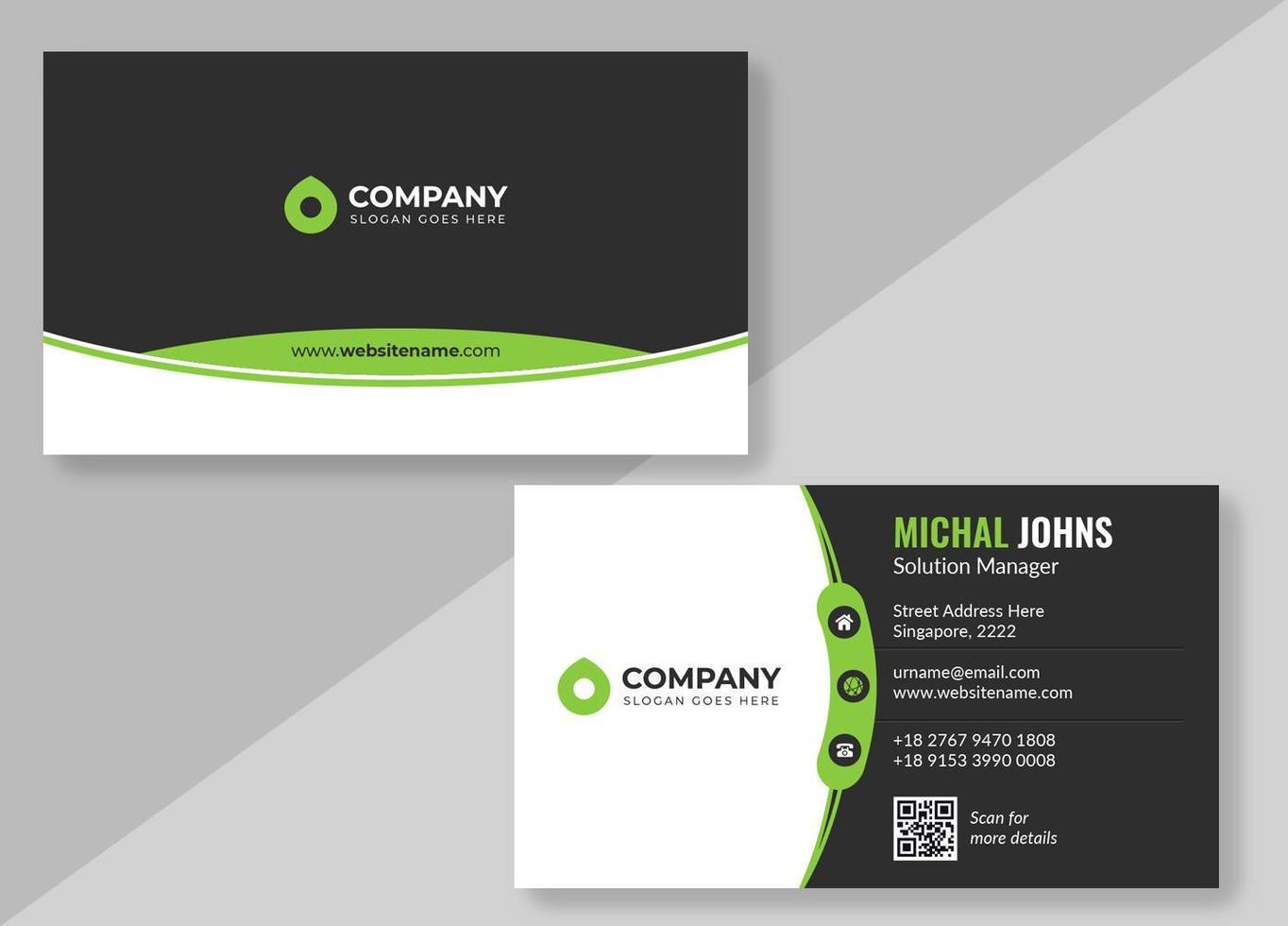 Black, White and Green Business Card with Curved Borders vector