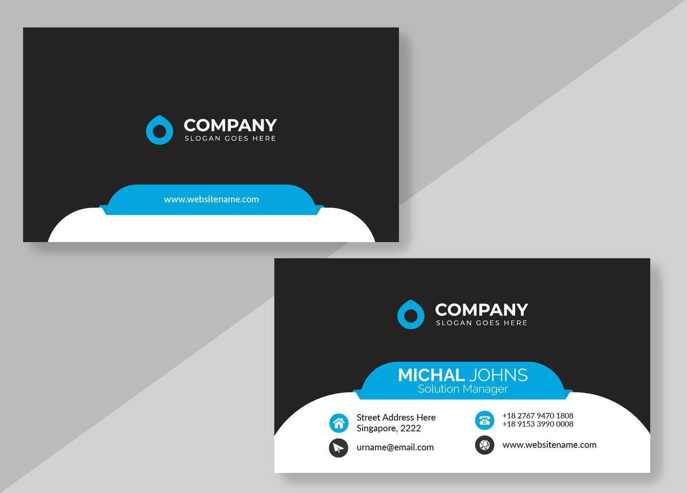 Black Business Card with White Rounded Border vector