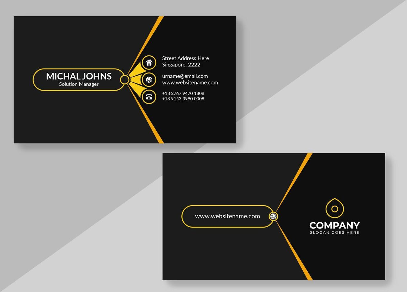 Black Business Card with Yellow Details vector
