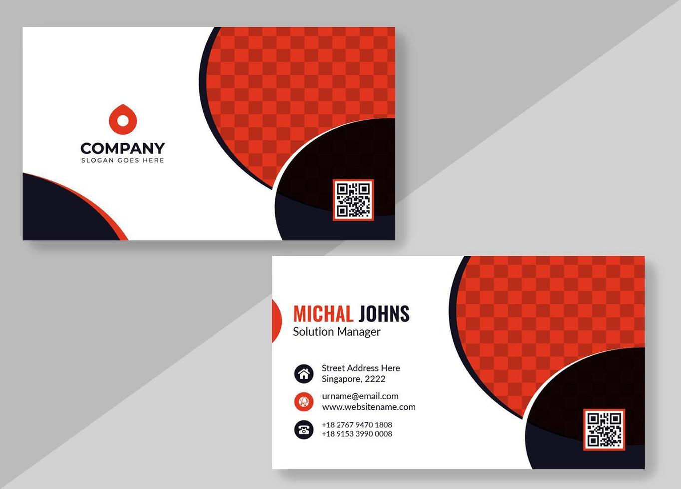 White Business Card with Red and Black Circle Shapes vector