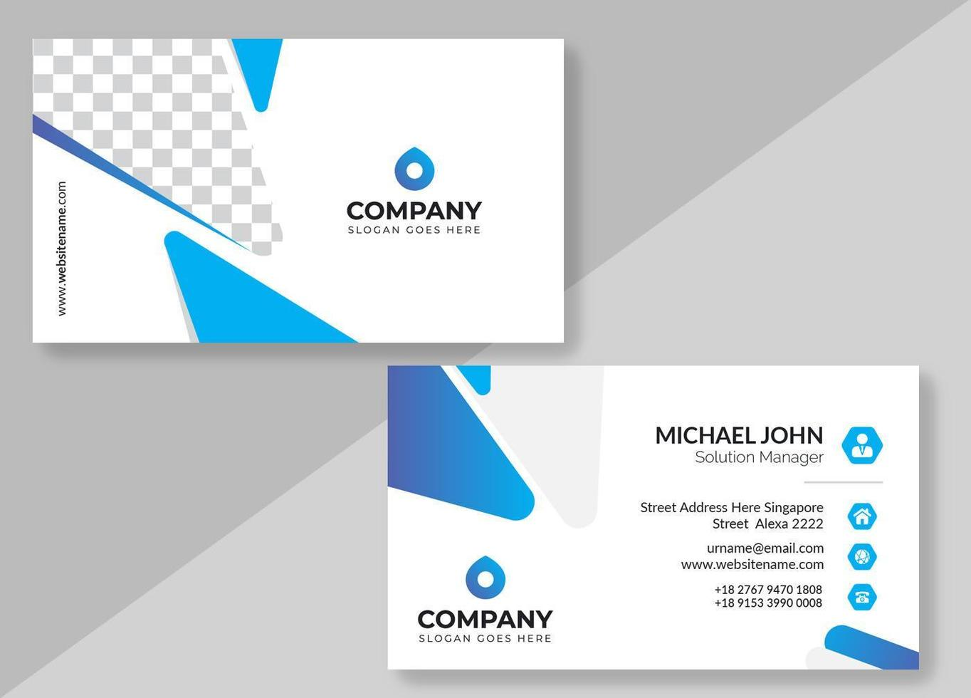 White and Blue Rounded Triangle Business Card vector