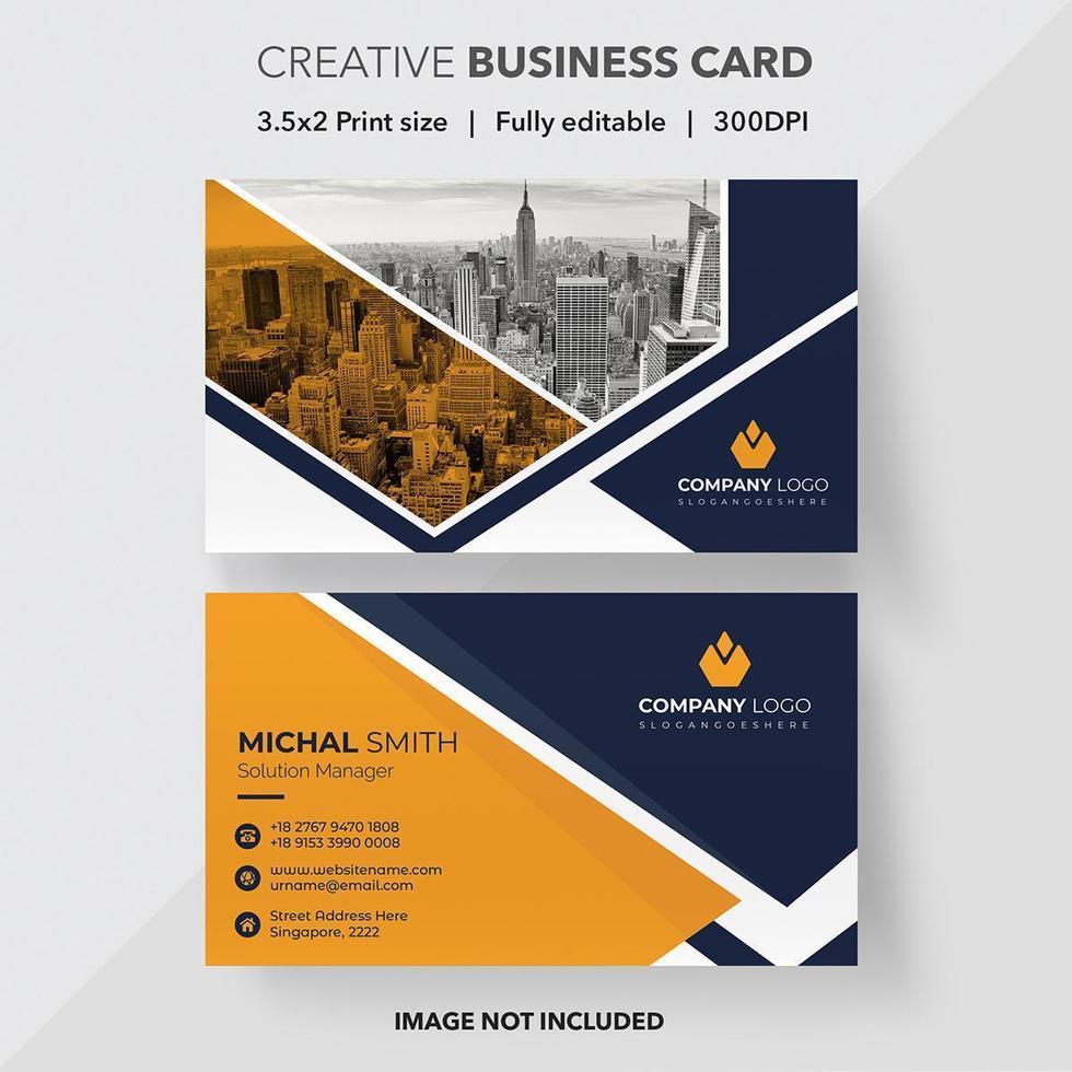 tarjeta de visita moderna del diseño del triángulo azul y anaranjado vector