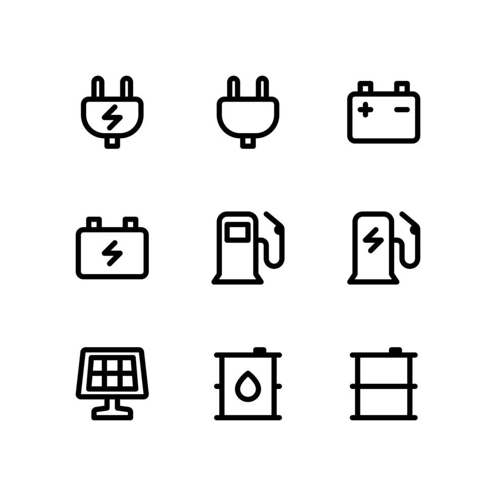 iconos de líneas de energía que incluyen enchufes eléctricos, baterías y más vector