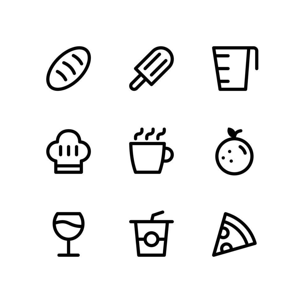 Food and Drink Line Icons Including Bread, Popslice and More vector