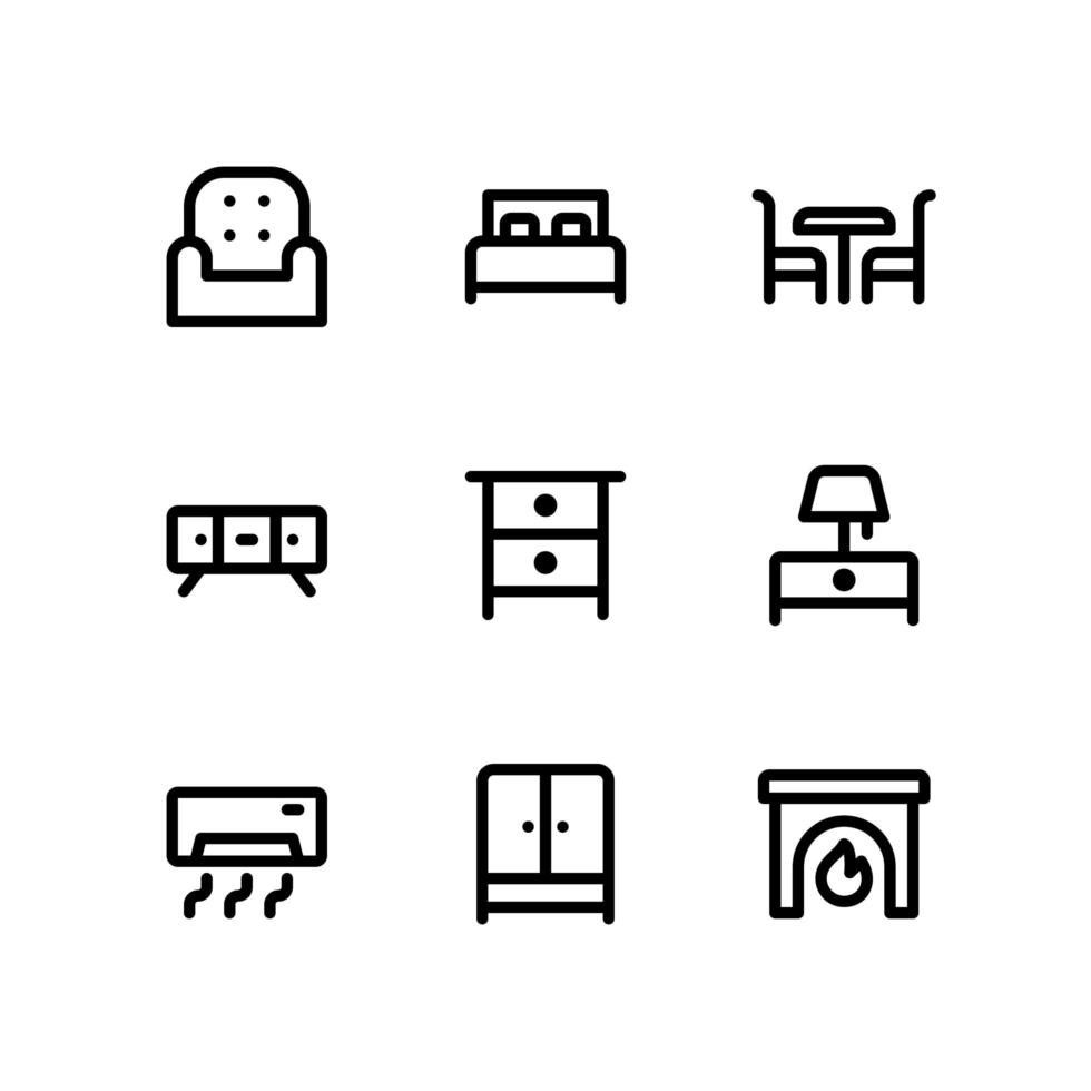 iconos de línea de muebles que incluyen silla, cama y más vector