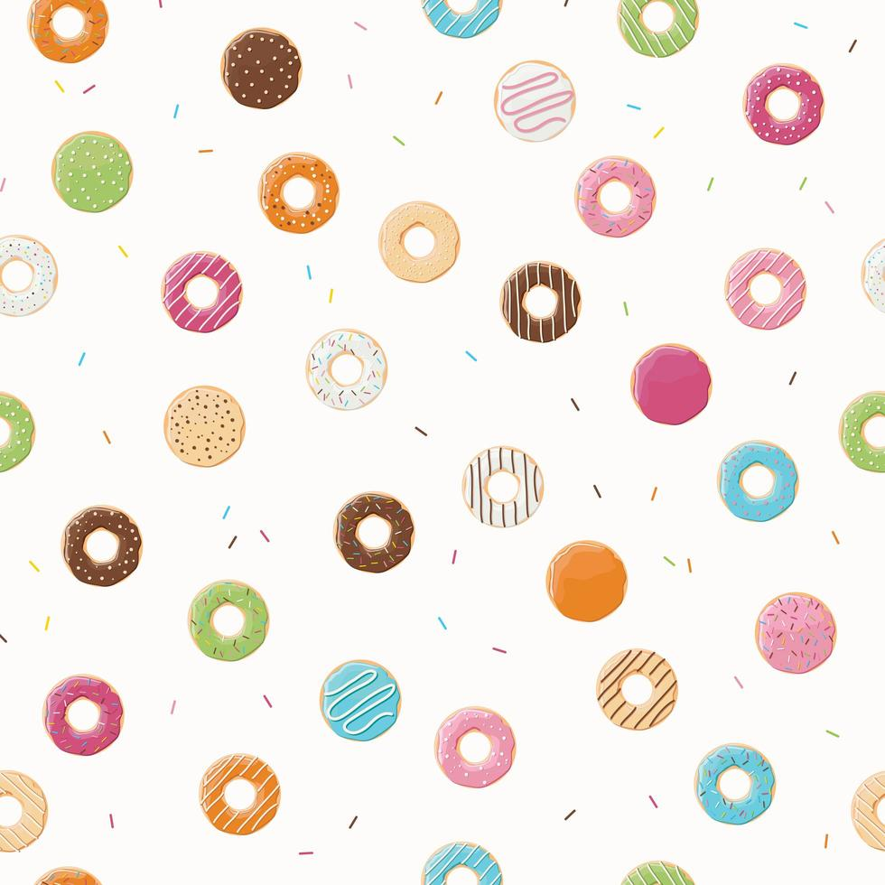 Seamless pattern with colorful donuts vector