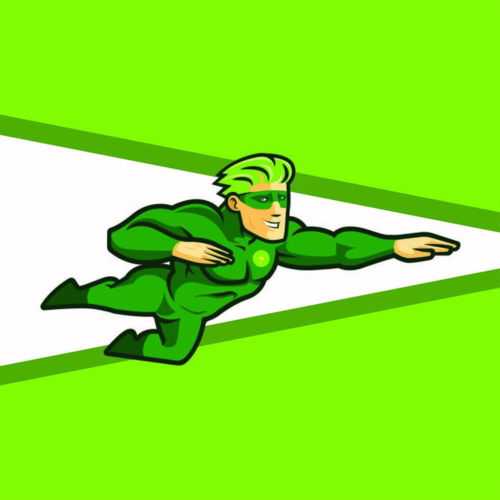 Flying Superhero in Green With Mask vector