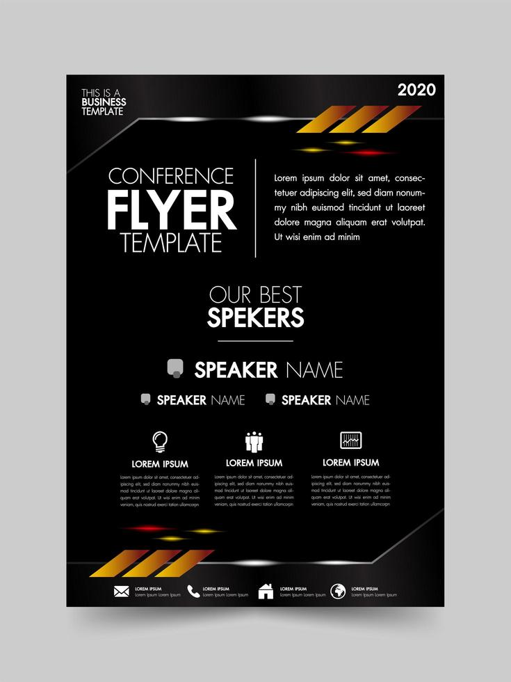 Black brochure template with metallic and lighting elements vector