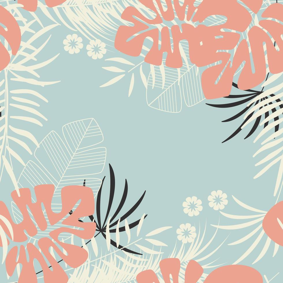 Summer seamless tropical pattern with tropical foliage vector