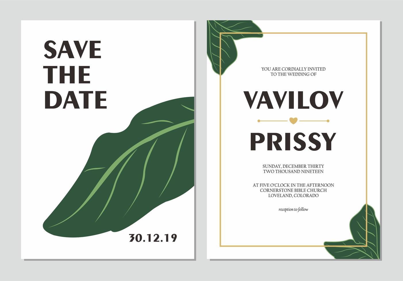 Simple Leaf Wedding Invitation Set vector