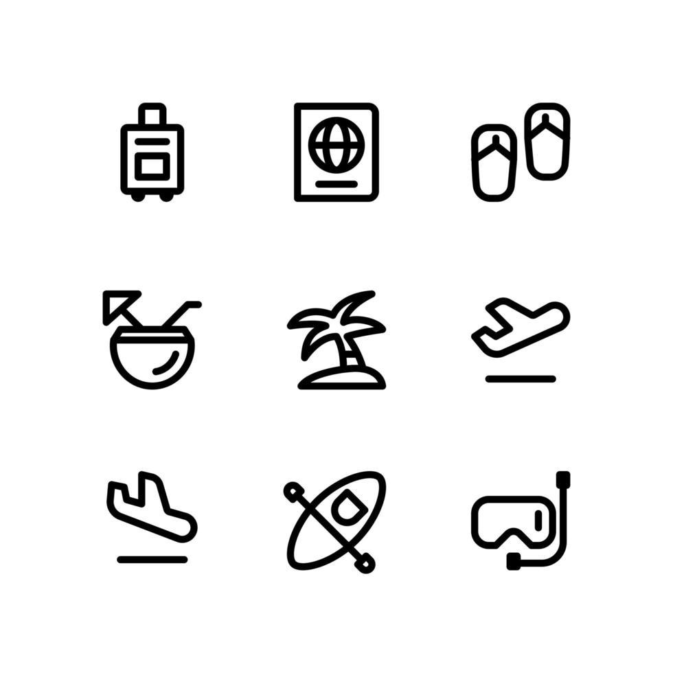 reselinjeikoner inklusive portfölj, pass och mer vektor
