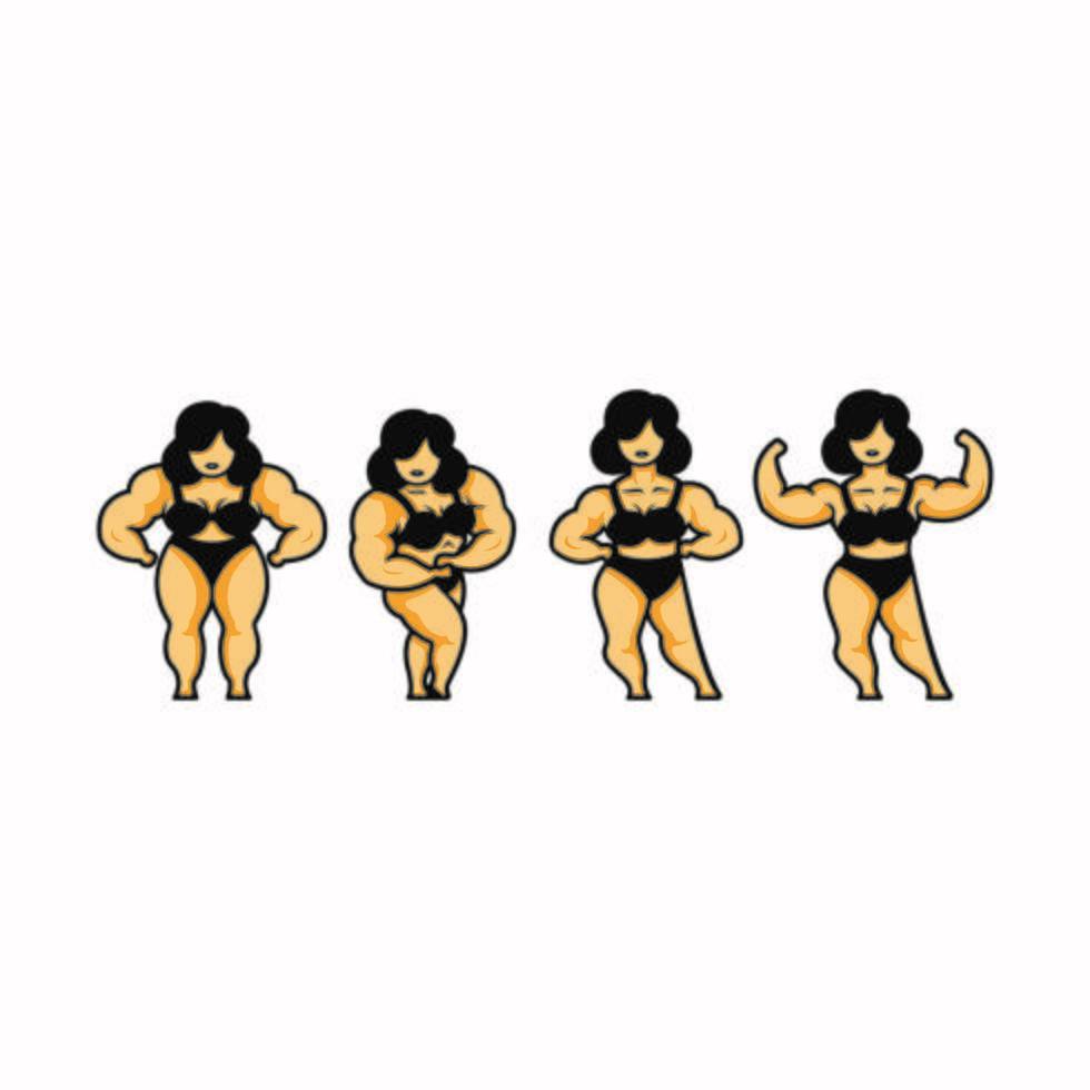 Satz von Bodybuilder-Karikaturen für Frauen vektor
