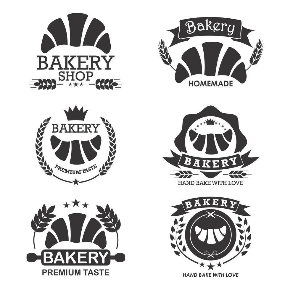Bakery logo emblem set with croissants vector