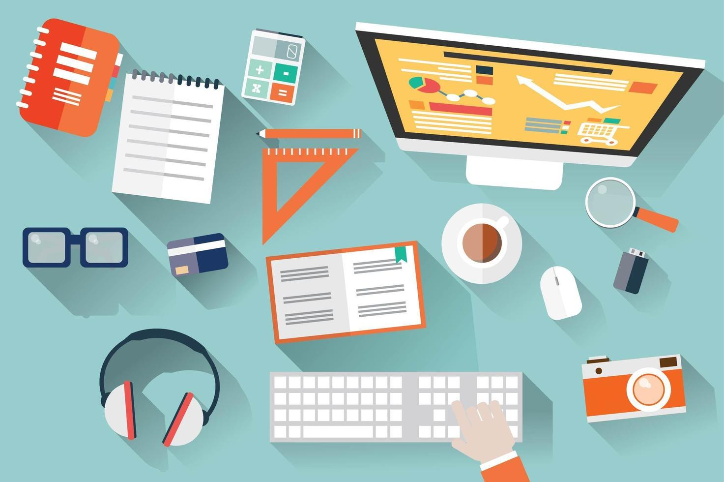 Top View of Work Desk with Office Supplies vector