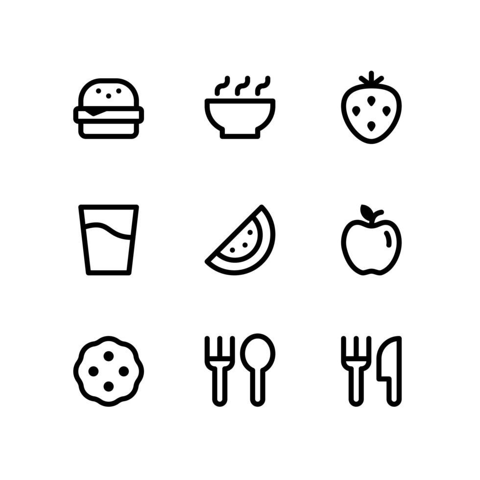 íconos de línea de alimentos y bebidas que incluyen hamburguesas, fresas y más vector