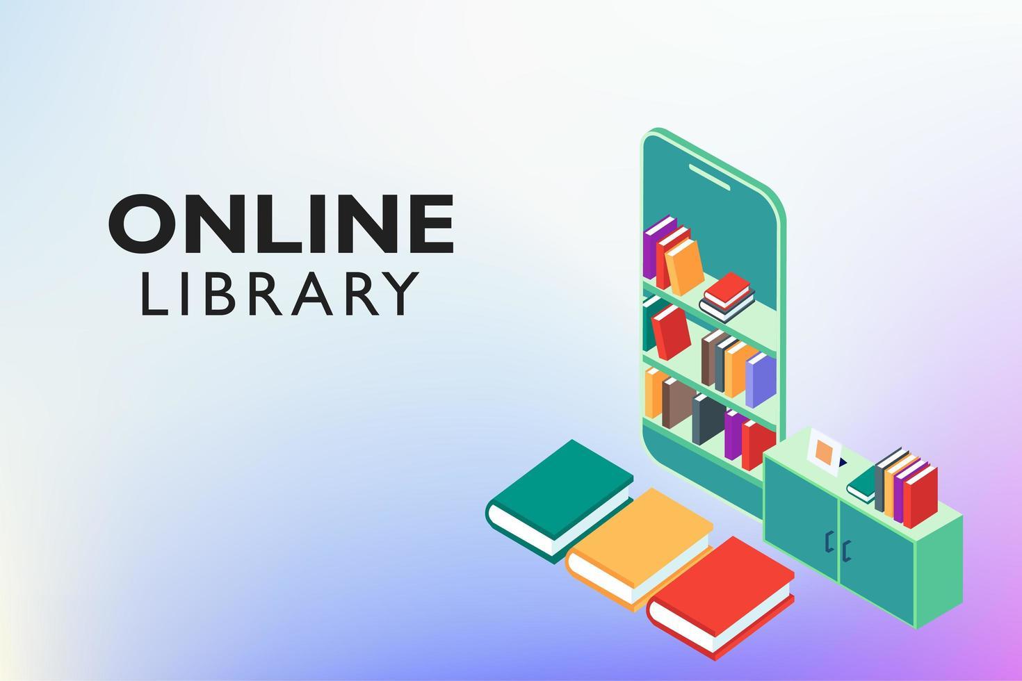 educação on-line da biblioteca digital vetor