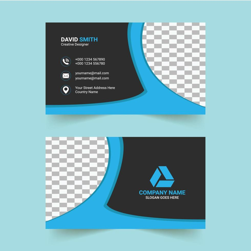Blue and Black Business Card Template vector