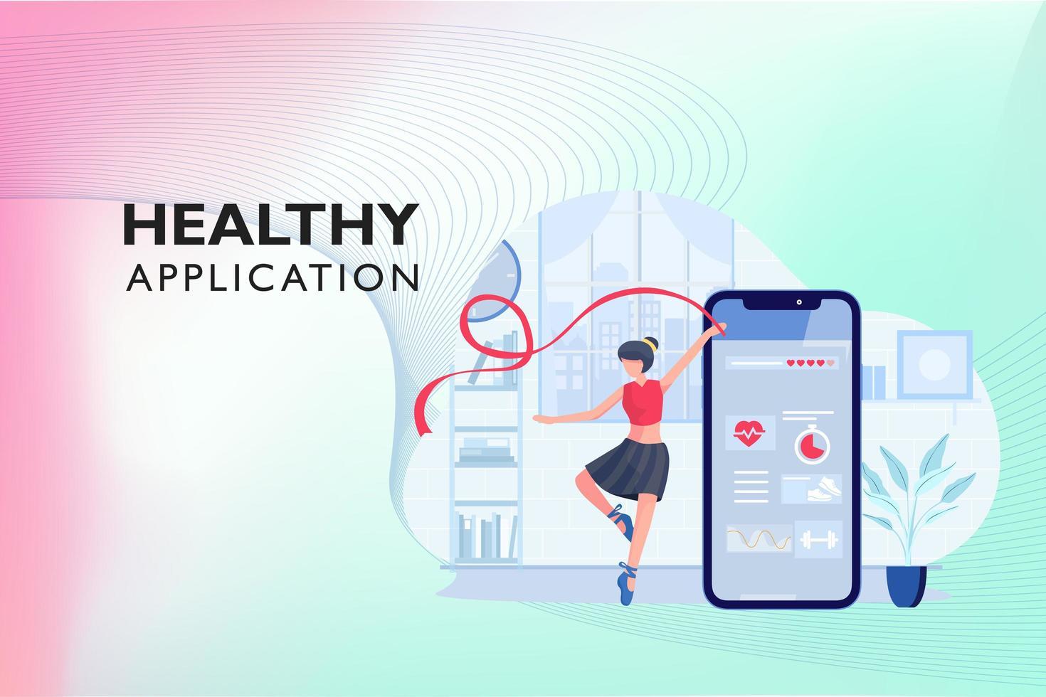 aplicación saludable para entrenamiento vector