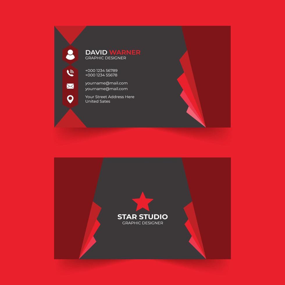 plantilla de tarjeta de visita moderna de color rojo vector