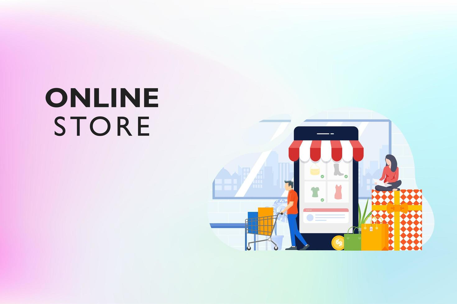 Shopping Online on Website vector