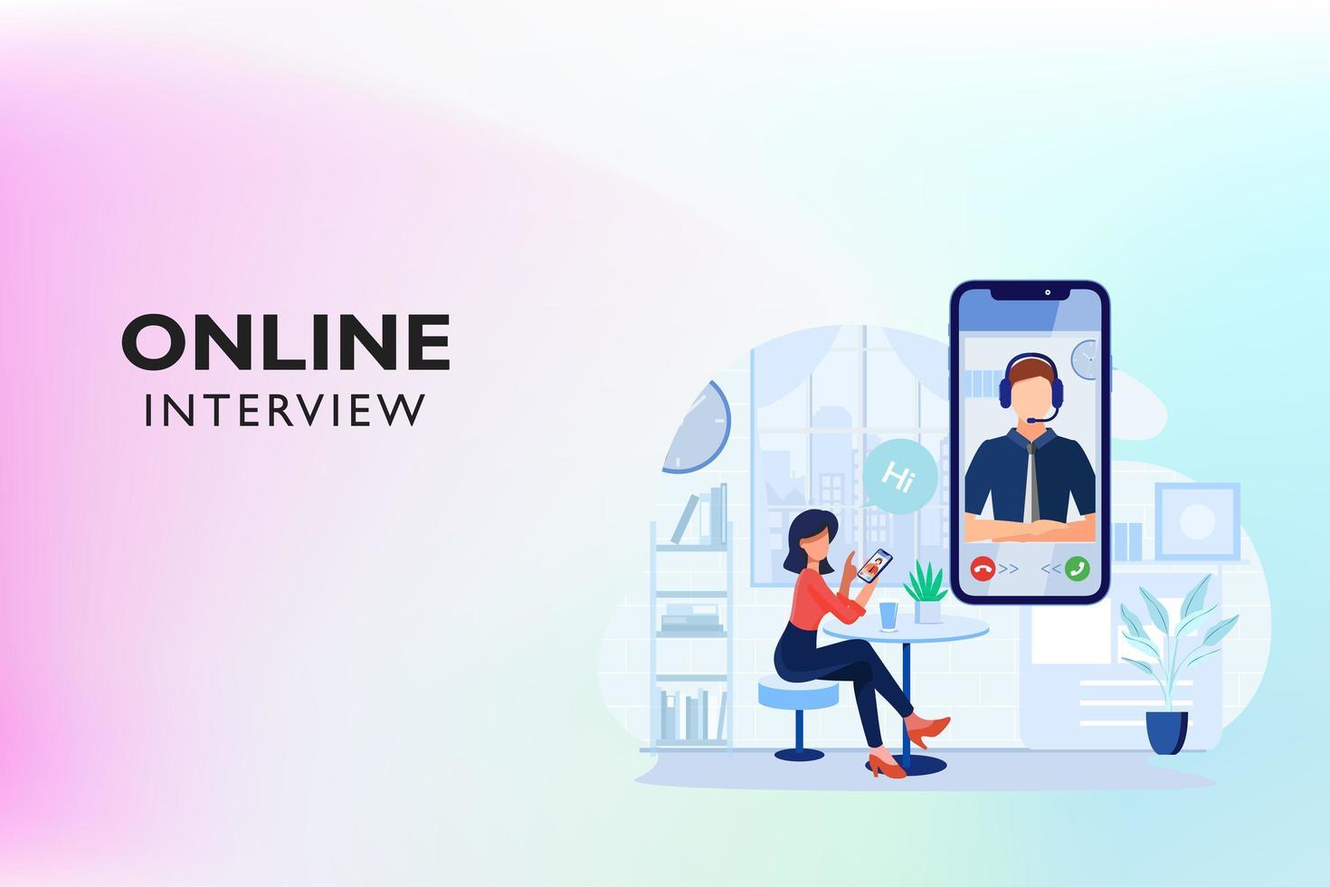 Online Video Call Interview vector