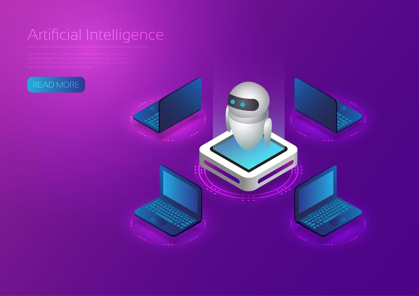AI Technology Robot with Laptops vector