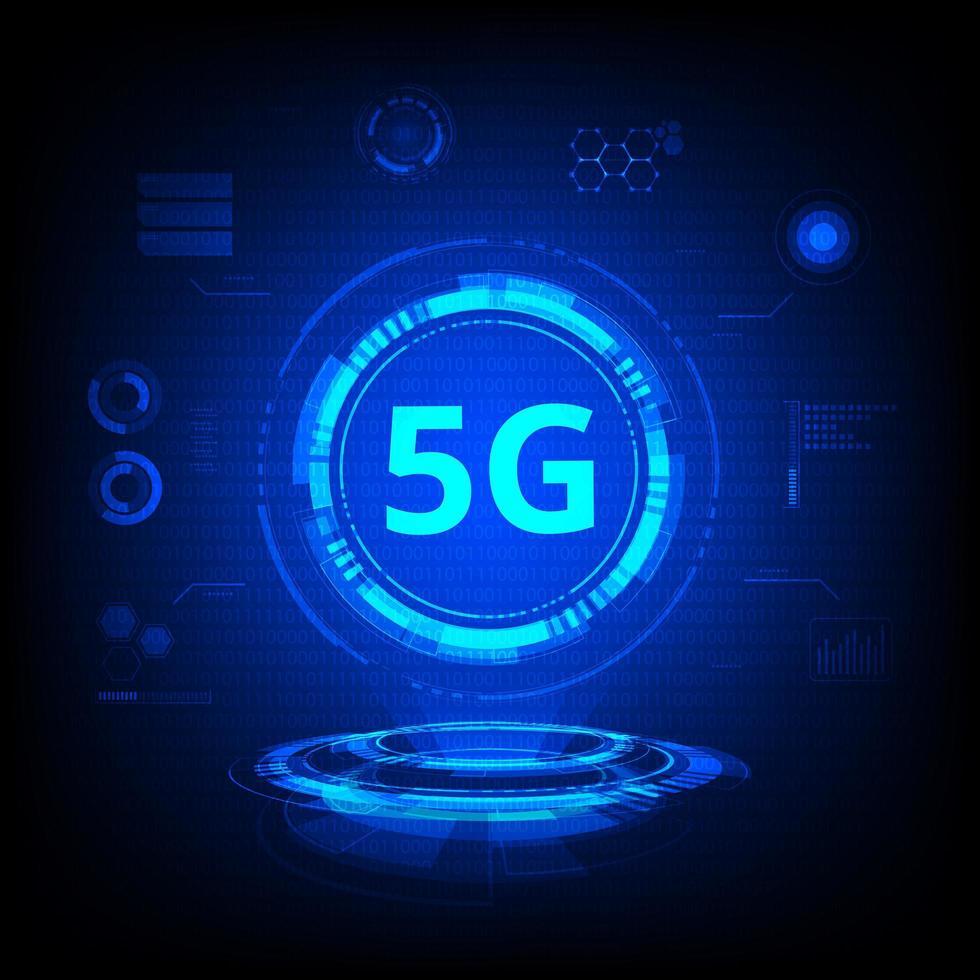 Tecnología 5g holograma azul vector