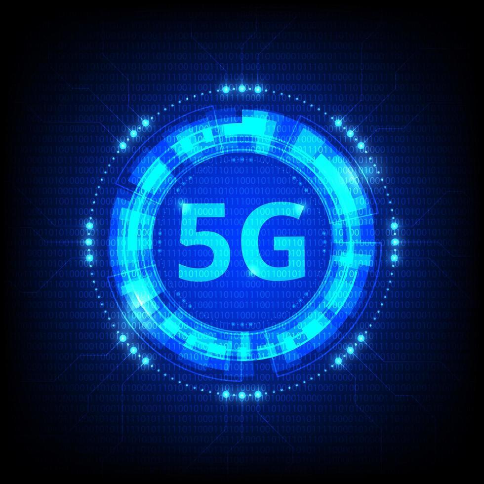 Icono digital azul brillante de tecnología 5g vector