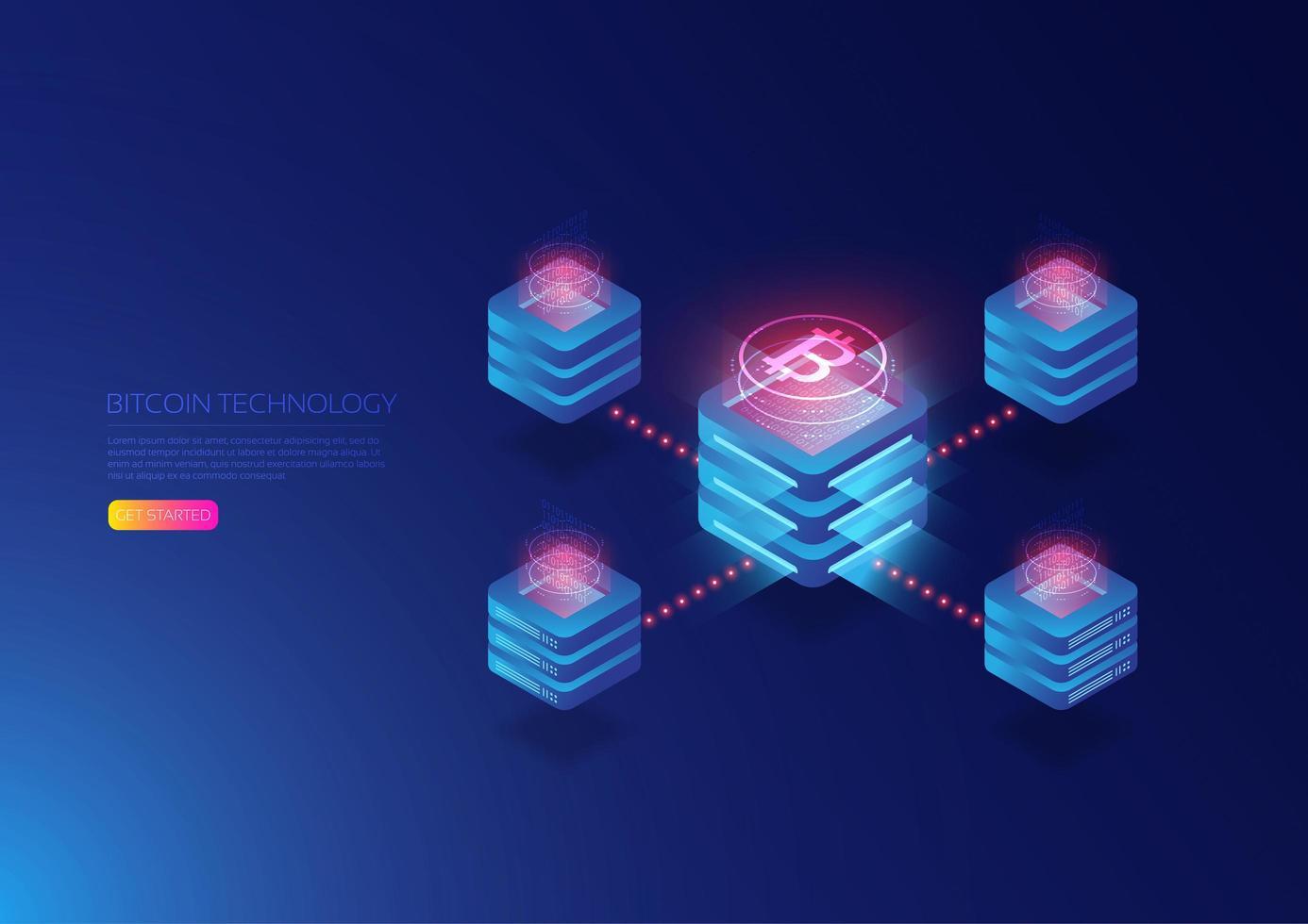 Isometric Bitcoin Server vector