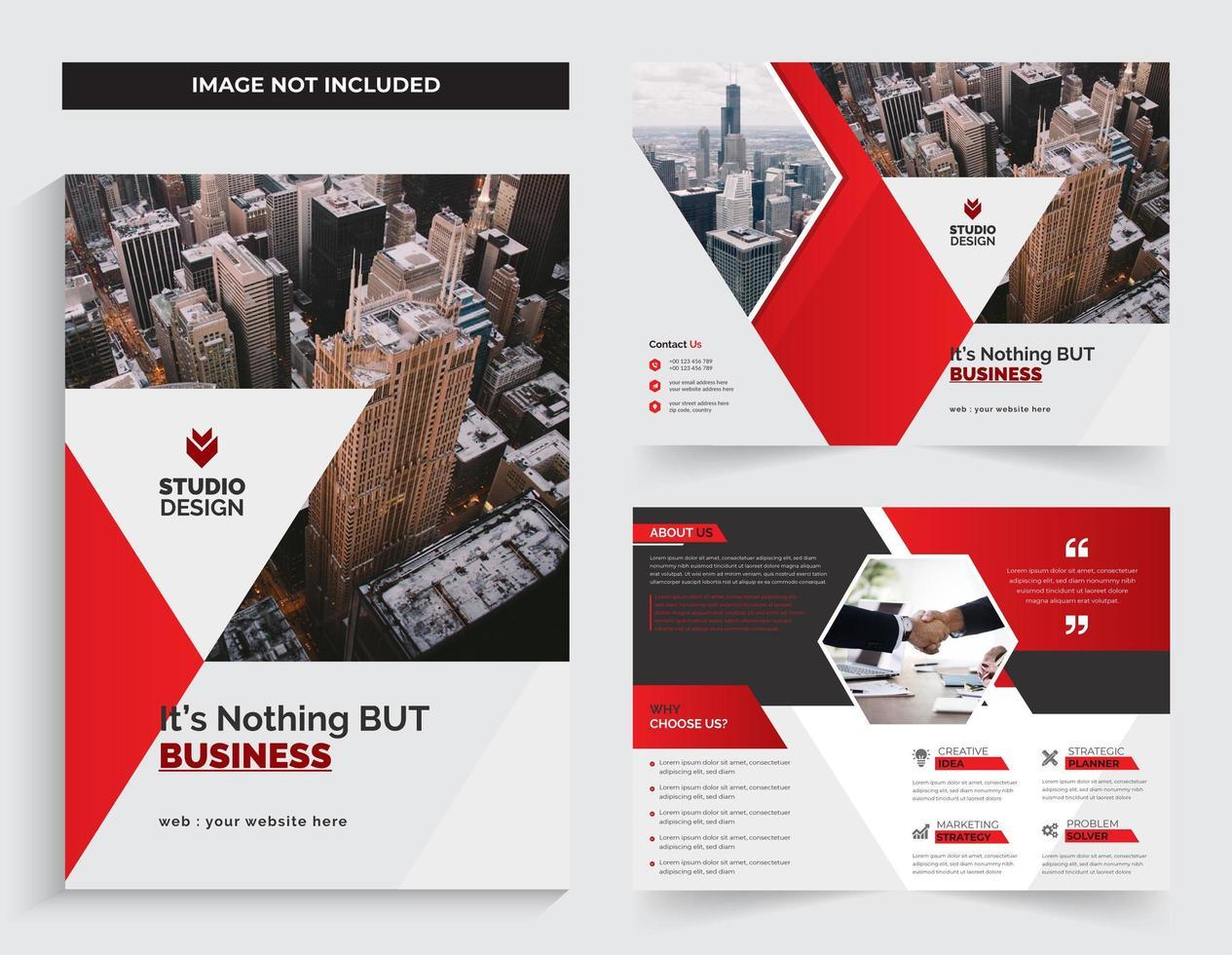 Business Corporate Bi-fold  Template Design Red Color vector