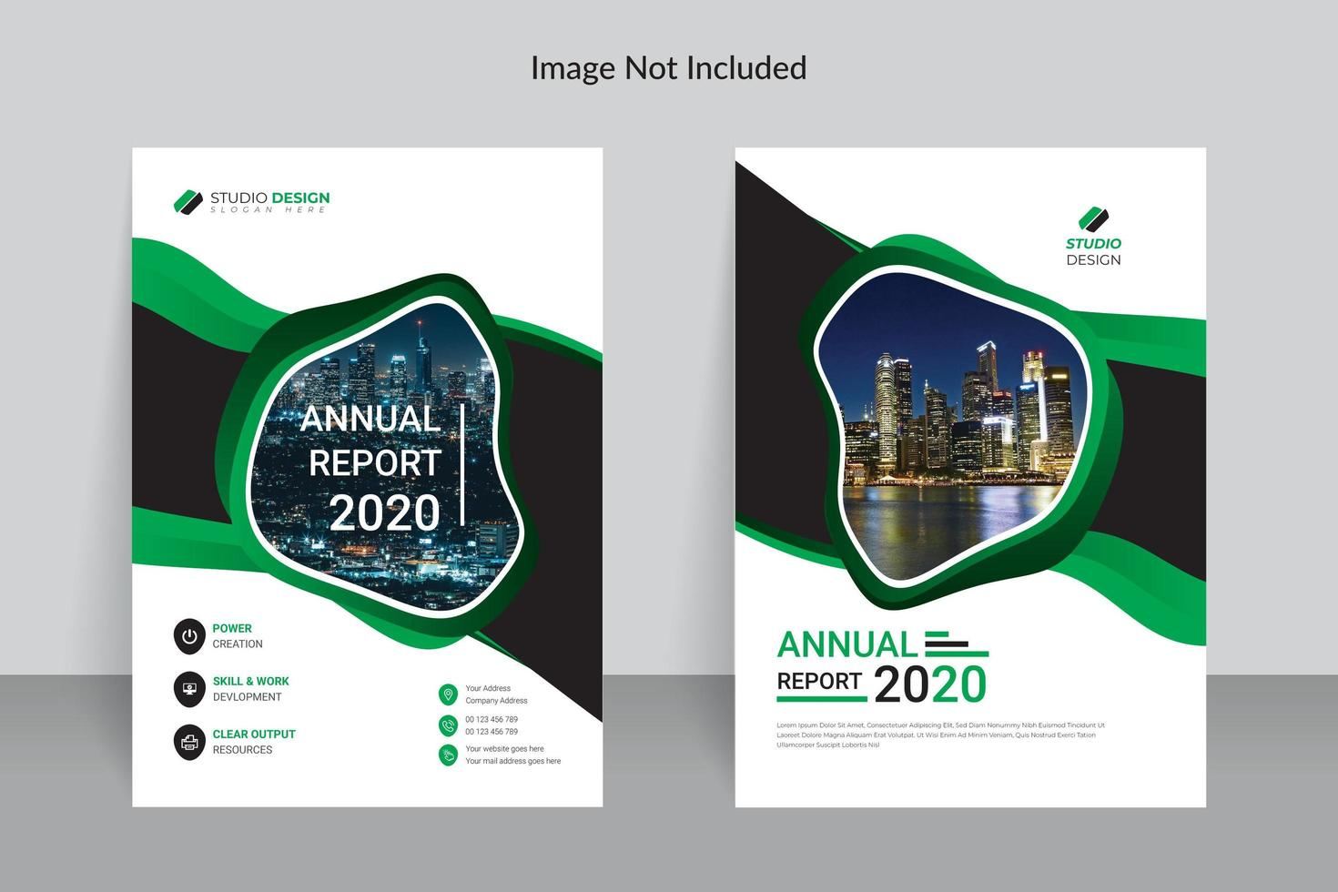 Business Green and White Annual Report Template Design vector