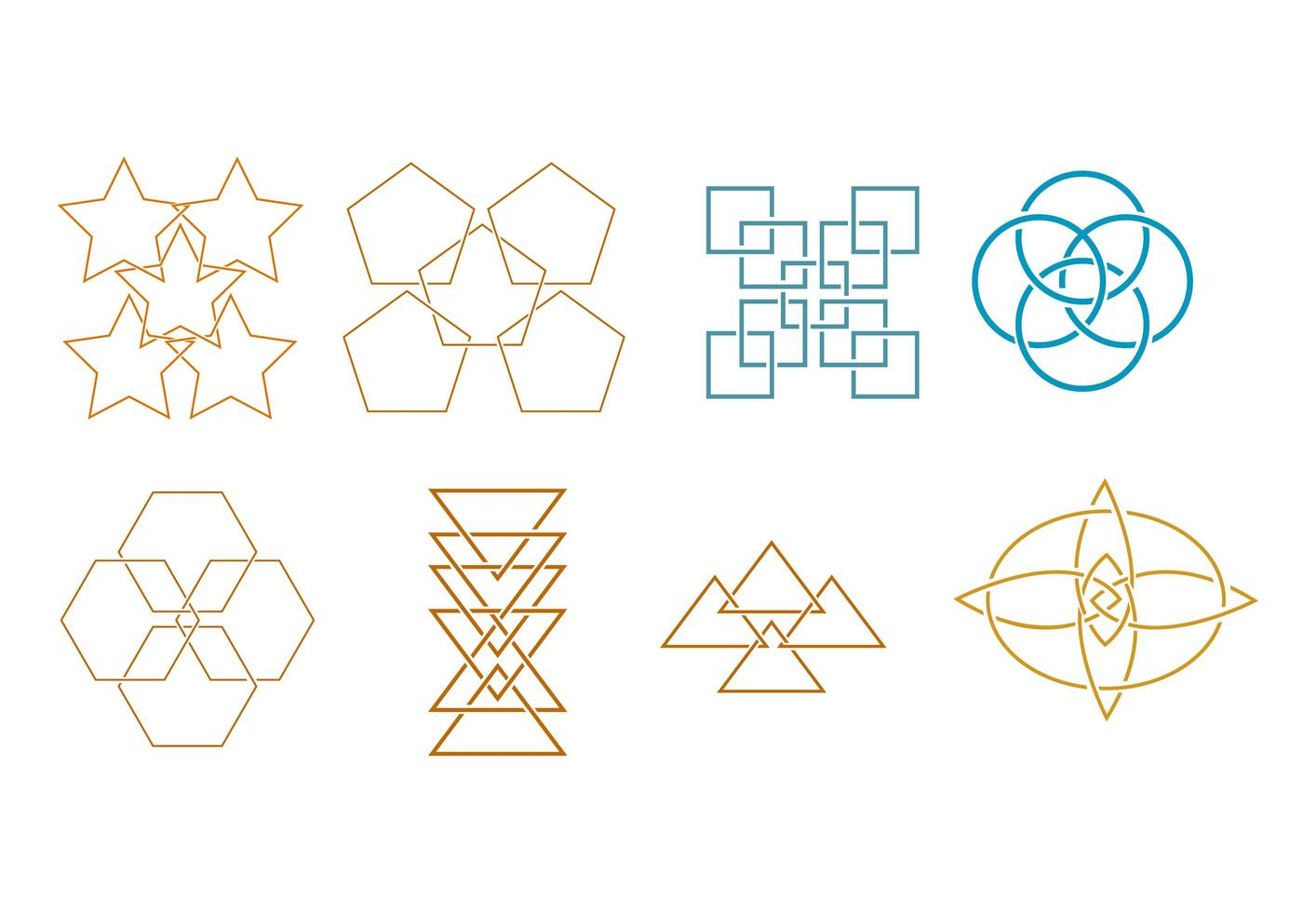 Set of abstract shape icon elements vector