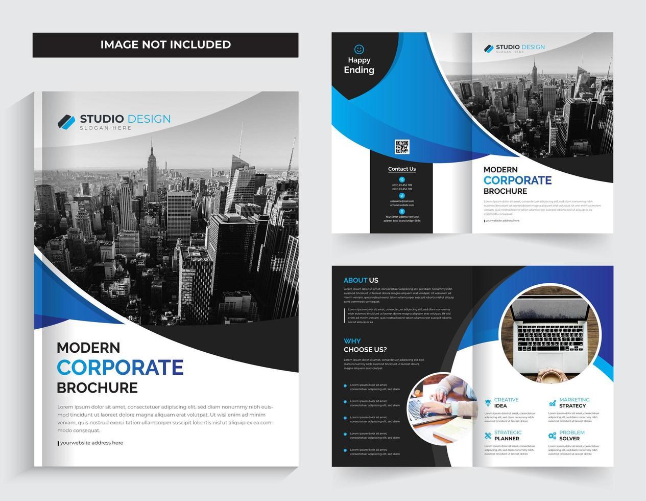 Business Corporate Bi-fold  Template Design Gradient Cyan Color vector