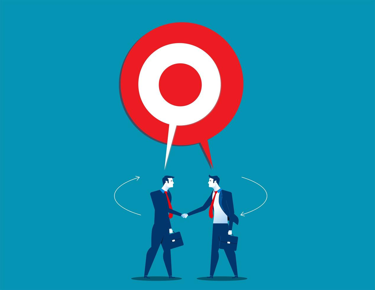 Businessmen with Shared Speech Target Bubble vector