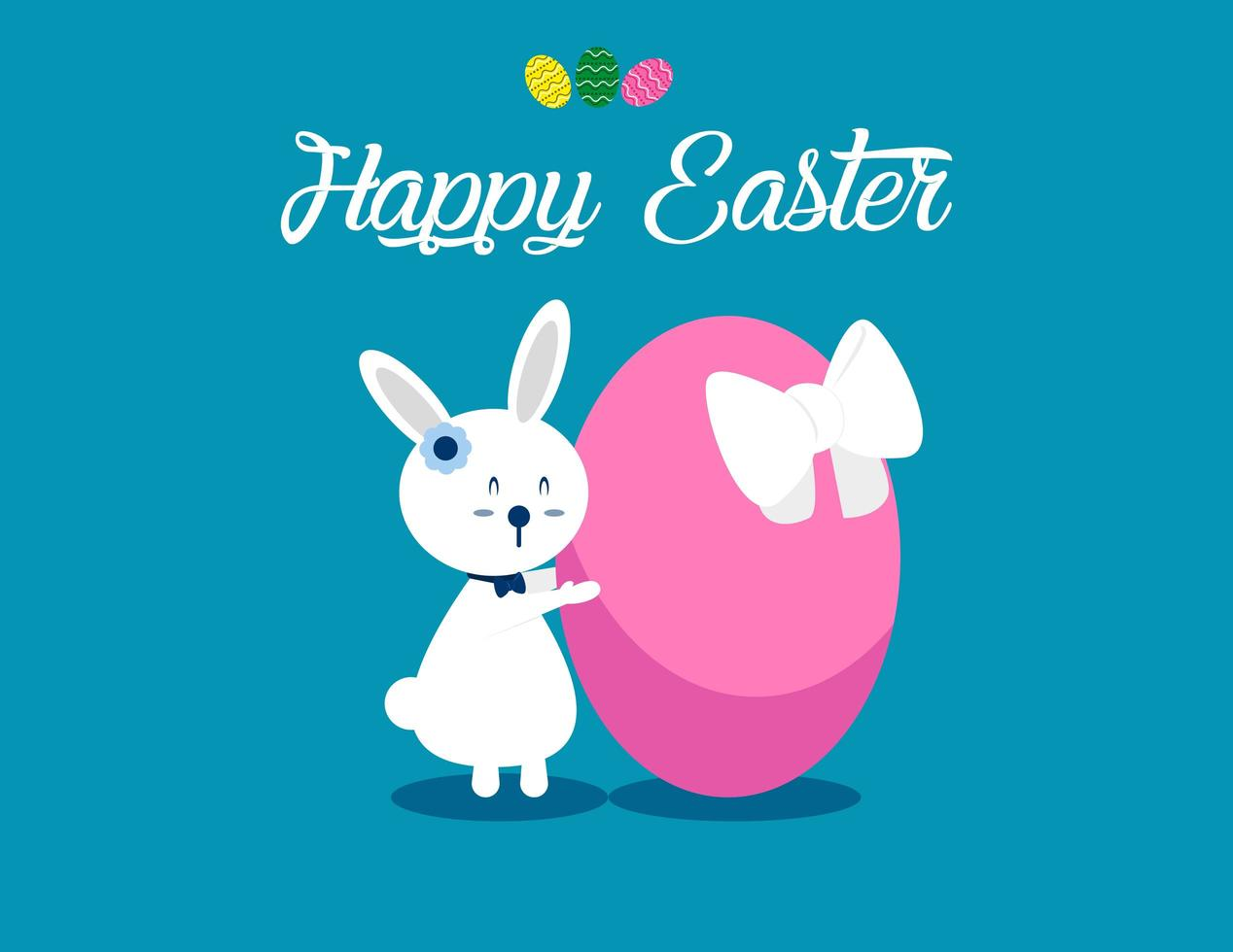 Lovely Bunny and Happy Easter Background vector