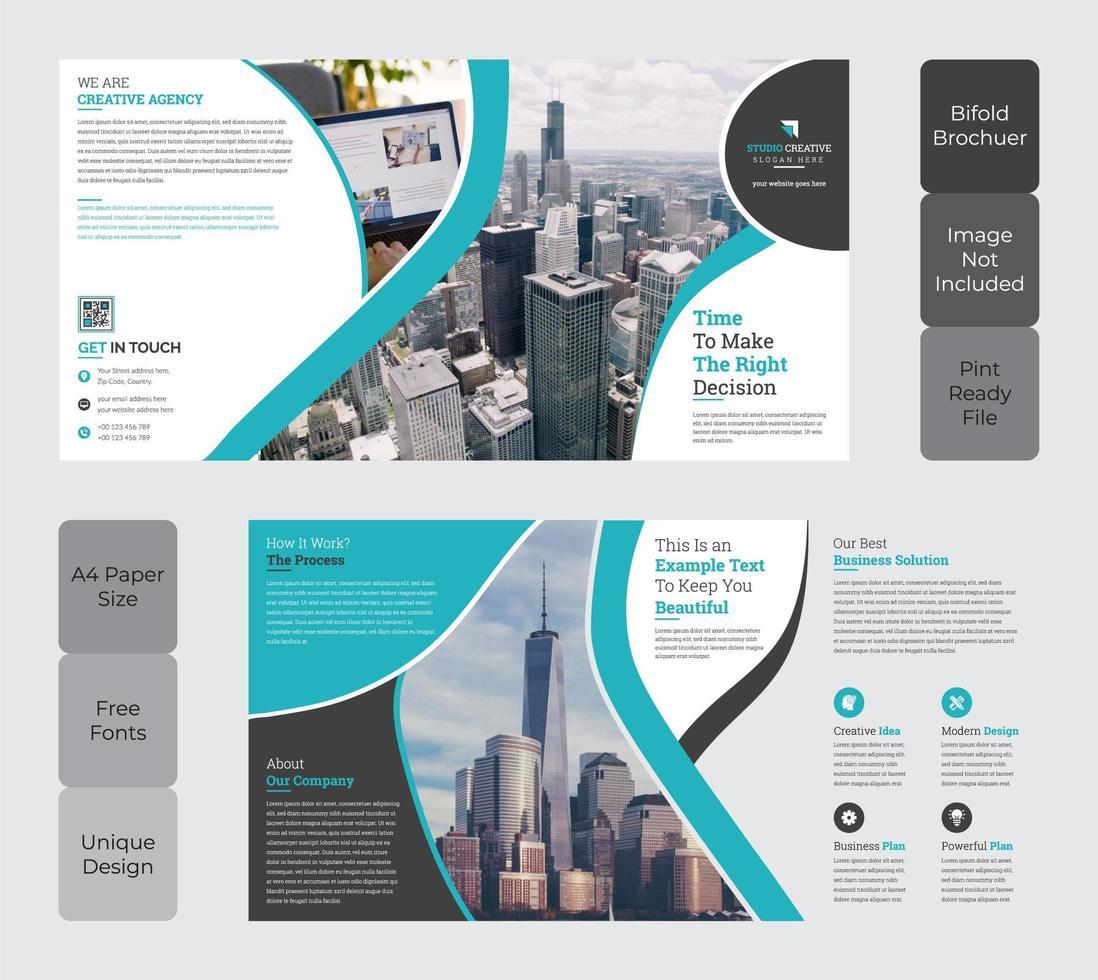 Corporate Square Bi-Fold Brochure Template Design Teal Color vector