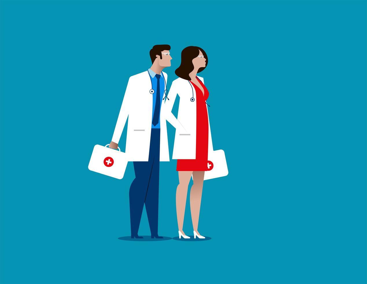 médicos y trabajadores del hospital vector