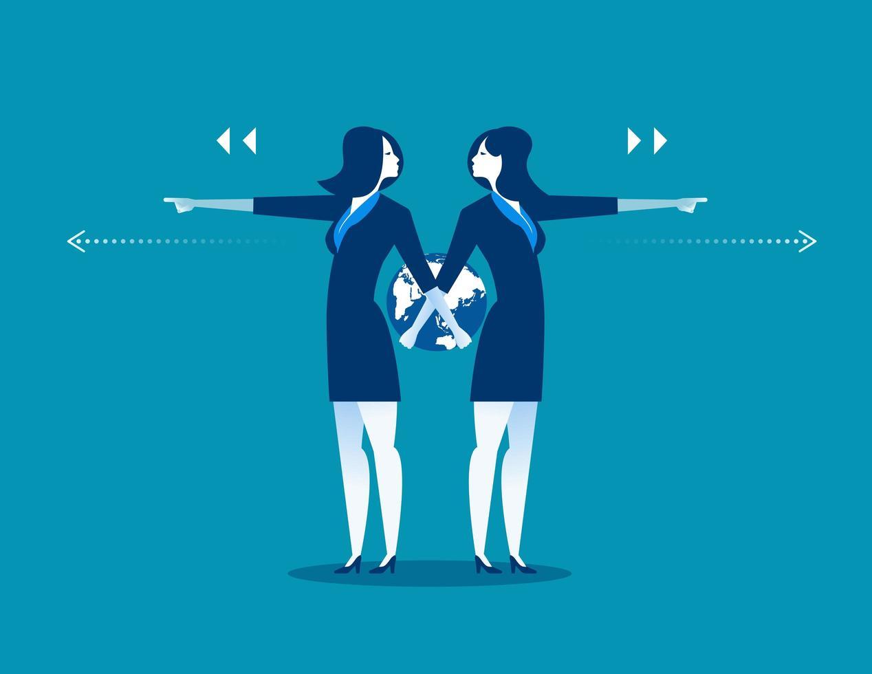 empresarias apuntando en diferentes direcciones vector