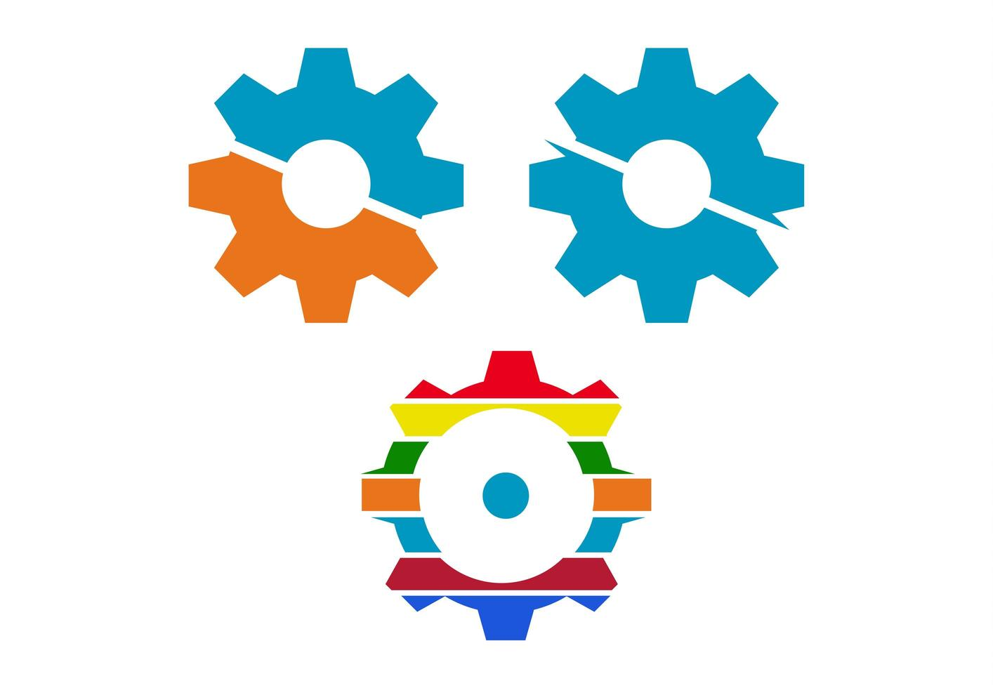 Trendy colorful cog icons vector