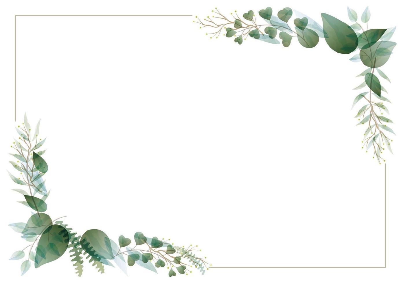 marco de rectángulo botánico acuarela vector