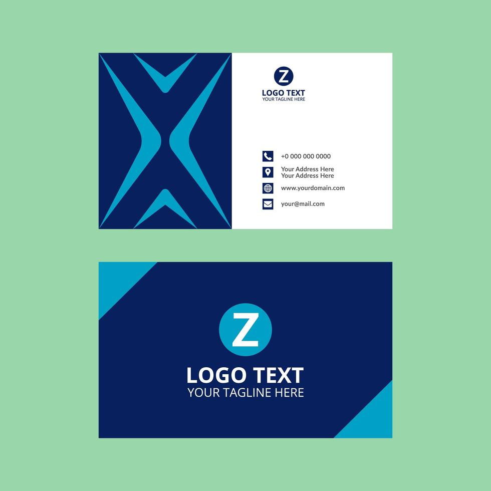 Blue Elegant Business Card Template vector