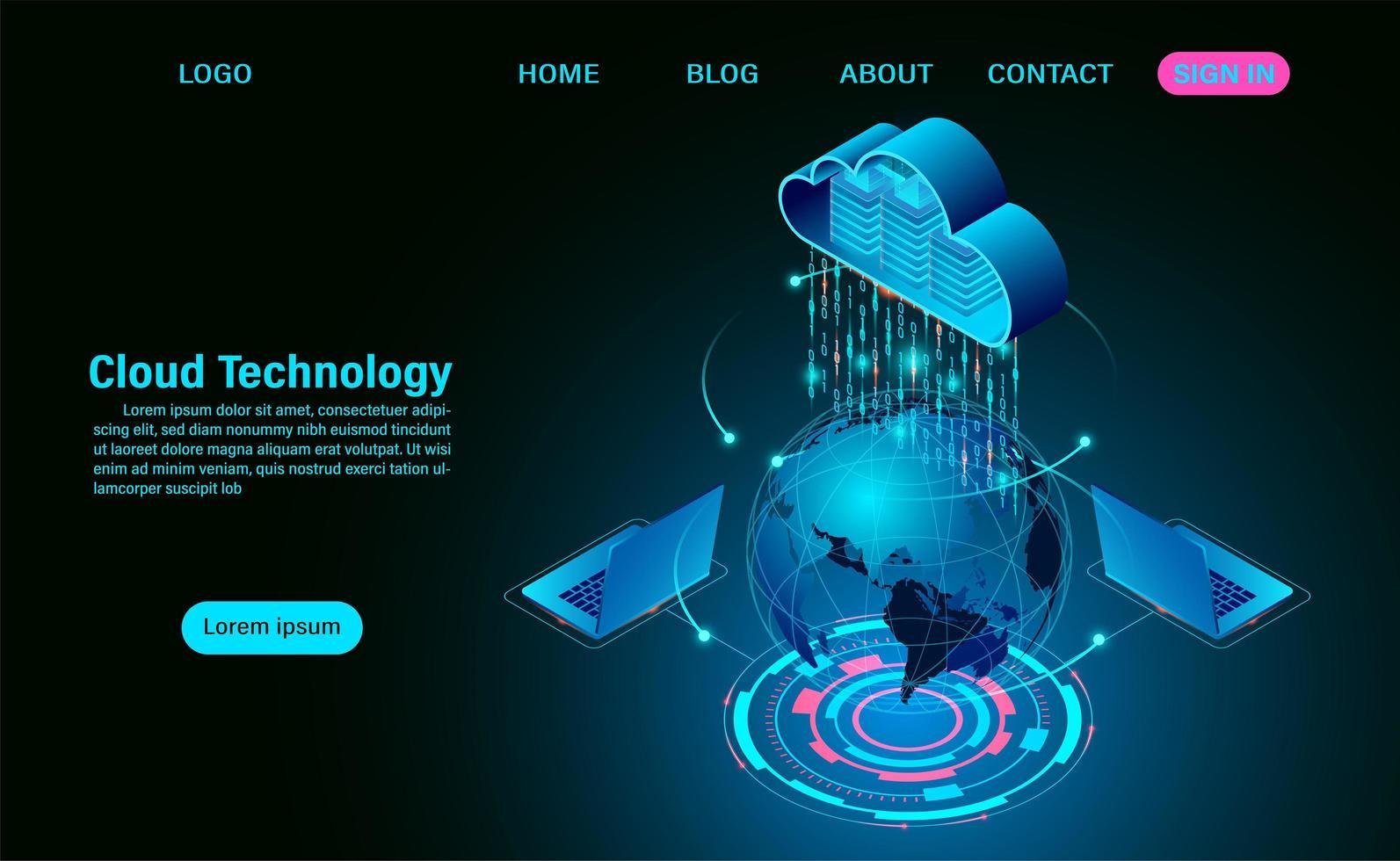 Global Big Data Flow Processing Concept vector