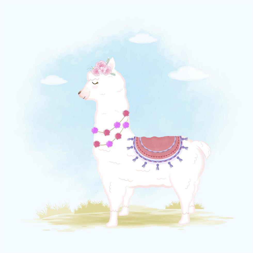 Llama hand drawn cartoon vector