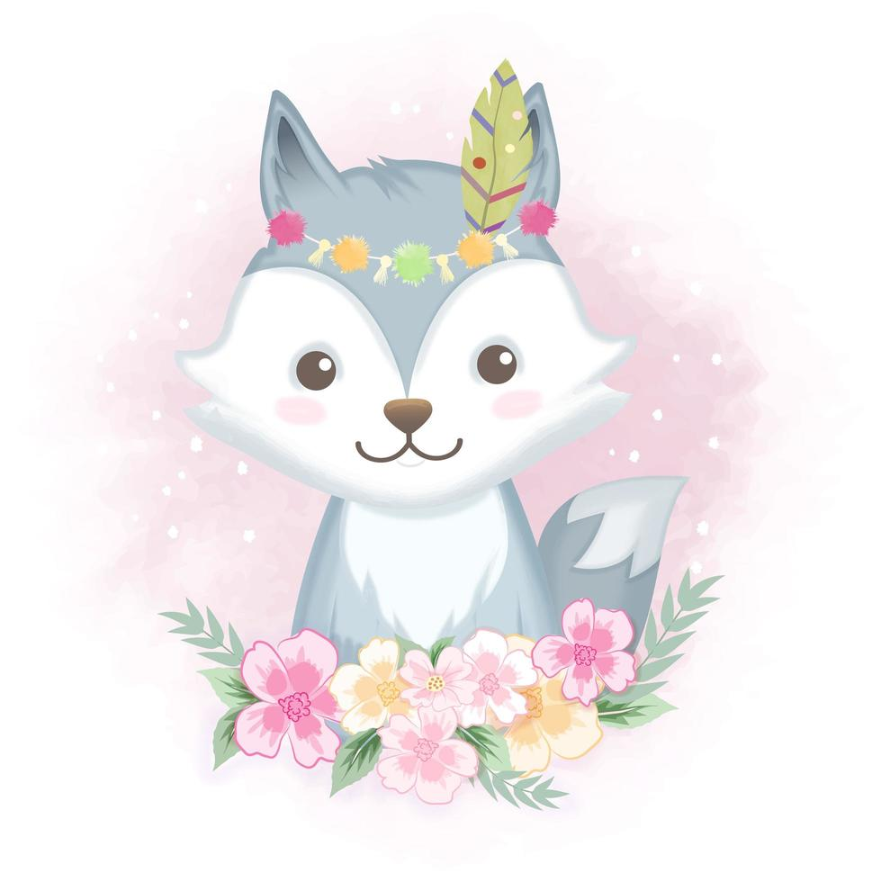 Fox with flowers vector