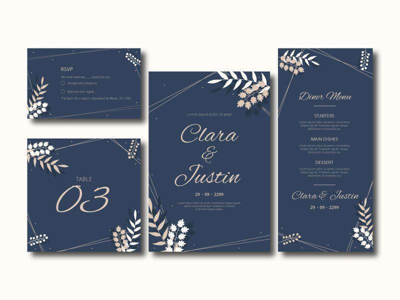 elegante conjunto de tarjeta de invitación de boda floral vector