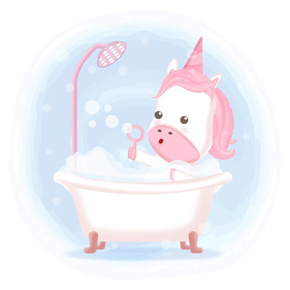 Unicorn taking a bath in bathtub vector